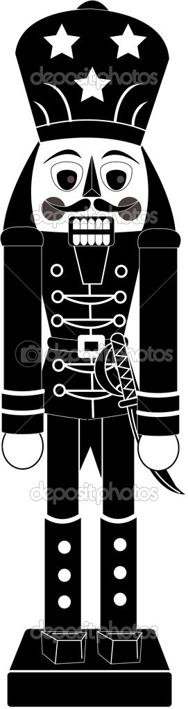 Clipart Illustration Of A Nutcracker Figurine In Black And White Clip Art Black And White Illustration
