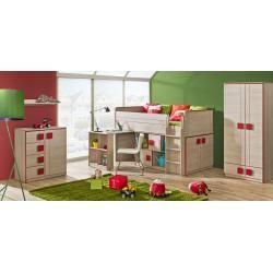 Chambre des jeunes – Cabinet Elias 02, Couleur: Marron clair / Rouge – Dimensions: 187 x 80 …  – Products