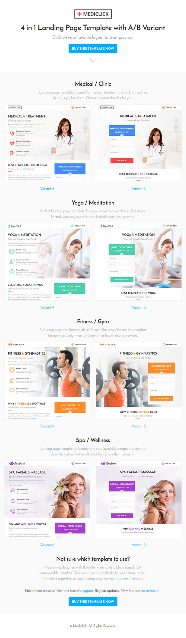 Mediclick – Medical Landing Page WordPress Theme