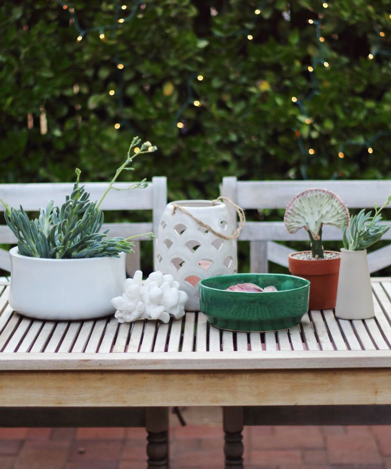 Outdoor Centerpiece With A Coral Cactus Shells Pottery Coral Cactus Wood Patio Table Wood Patio
