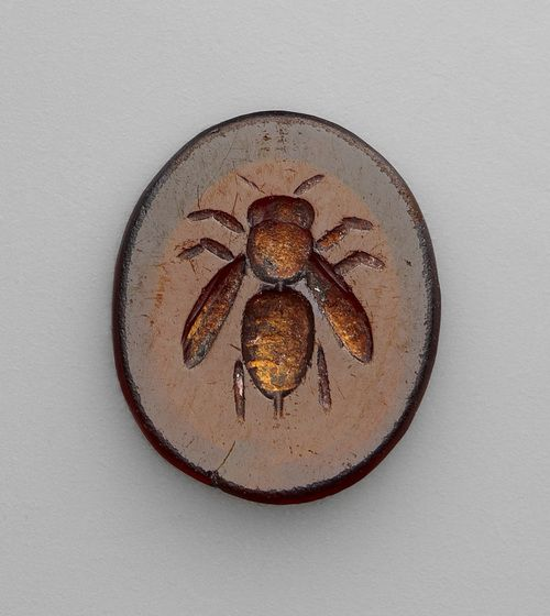 Roman, carved intaglio gemstone with bee, 1st-3rd century.