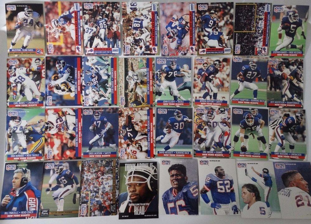 1991 pro set series 1 new york giants team set 32 football