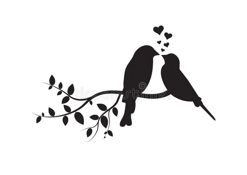 Birds On Branch Wall Decals Couple Of Birds In Love Birds Silhouette On Branch And Hearts Illustration Ro Bird Silhouette Art Bird Silhouette Silhouette Art