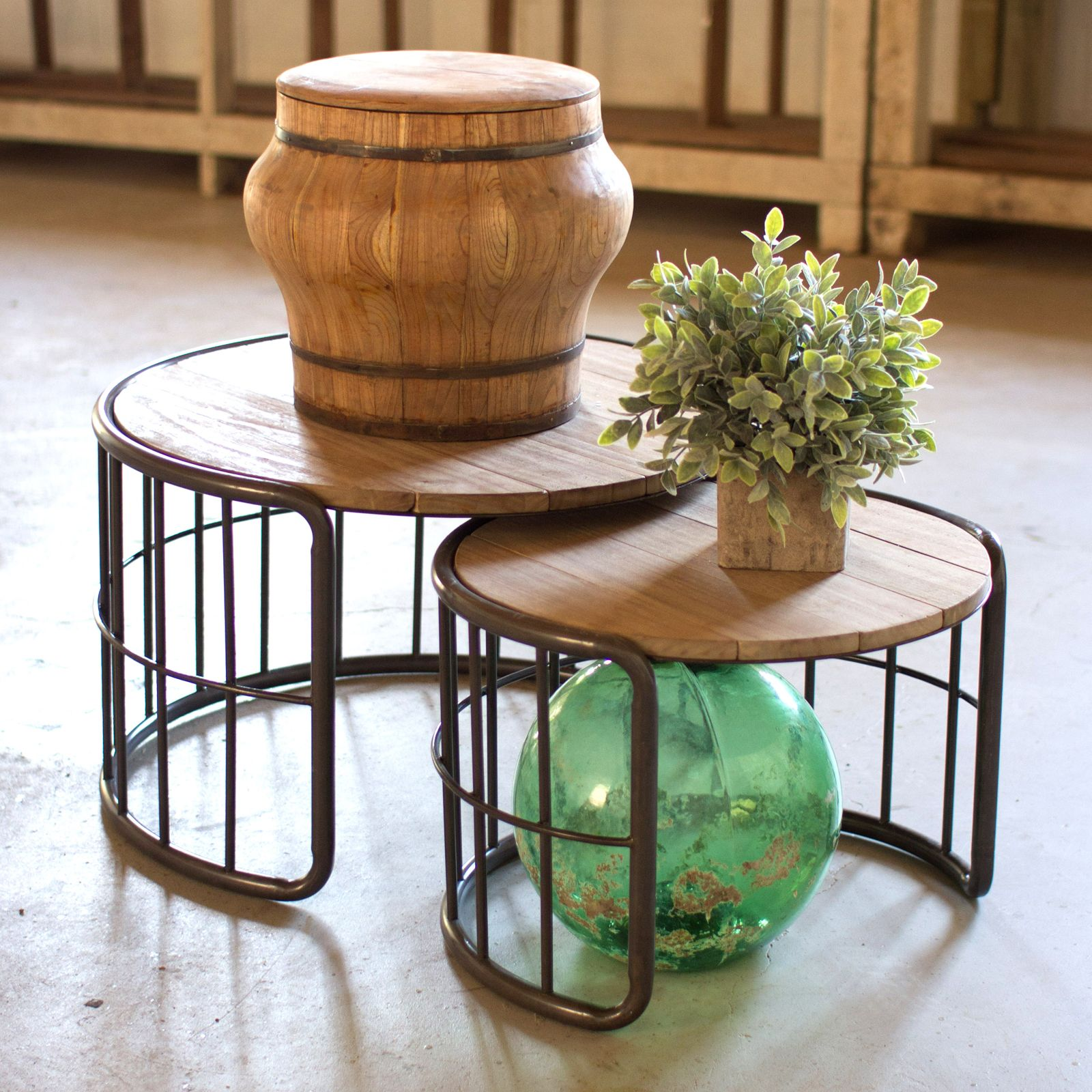 Farmer S Barrels Nesting Tables Set Of 2 Coffee Table Nesting Coffee Tables Round Coffee Table [ 1600 x 1600 Pixel ]