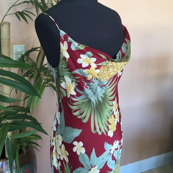 "Tommy Bahama Silk Hawaiian Dress 100% silk maxi, beautiful floral print, 38"" bust 38"" waist, 58"" long. Plumeria and pineapple print, gorgeous dress for a Christmas party or your next Hawaiian vacation. Drape neck cut. Tommy Bahama Dresses"
