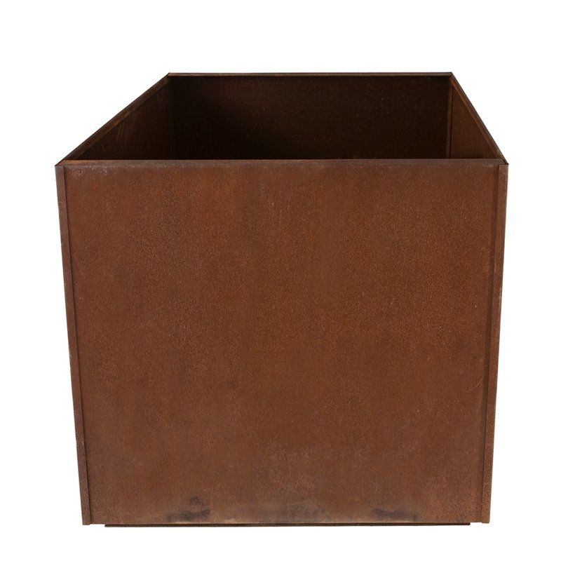 Corten Steel Planter Box is part of Steel garden Boxes - The Corten Steel Planter Box, with its simplistic design, is the perfect blend of form and function  The premium quality Corten steel used for its construction ensures years of reliable use  A square shaped design, it is built extra deep for larger plants  The planter features drainage holes that help with easy water drainage  The Corten Steel Planter Box can be used indoors as well as outdoors  It can be placed in the garden, the yard, on the patio, or the deck