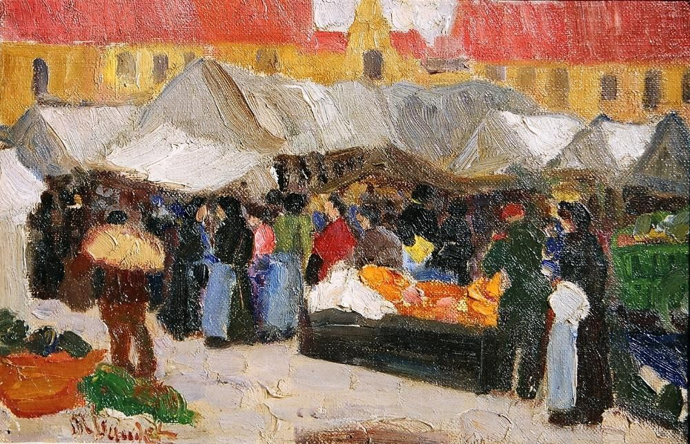 "MARIE BAUDET (FRENCH – 19TH /20TH C) MARKET SCENE IN REIMS. CIRCA DATA: 1910 DIMENSIONS: 17¾ "" h x 22"" w PRICE: $9,500"