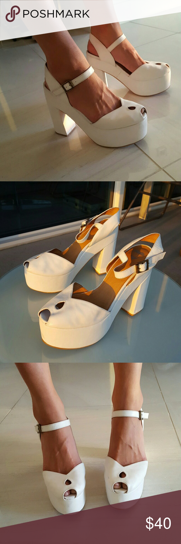 Jeffrey Campbell x Wildfox White Platforms, size 8 Perfect collaboration between Jeffrey Campbell and Wildfox. Adorable white platforms featuring a peep toe and block heel. Women's US size 8. Jeffrey Campbell Shoes Platforms