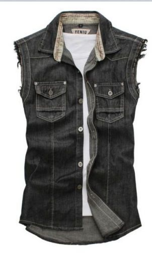 8ab5e74380a9a5 Hot-Mens-Stylish-Denim-Vest-Jean -Jacket-Sleeveless-Shirt-Biker-Button-waistcoat