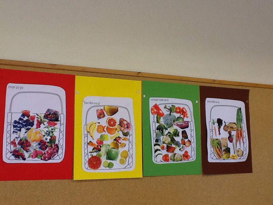Ryhmätyönä syksyn sadon luokittelua (marjat, hedelmät, kasvikset, juurekset)