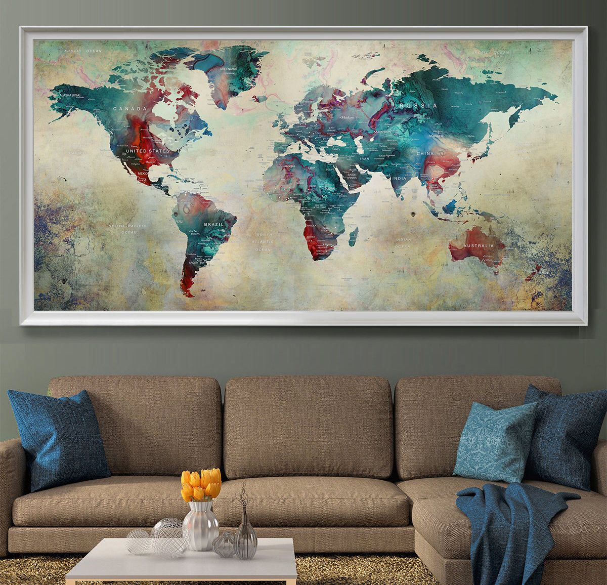Extra large wall art world map painting abstract art room decor push extra large wall art world map painting abstract art room decor push pin map print watercolor gumiabroncs Image collections