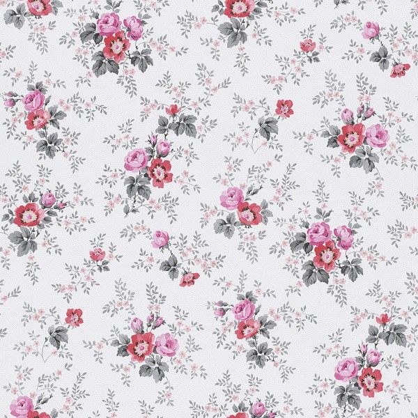Tapete Grau Rosa Blumen Petite Fleur Rasch 285054
