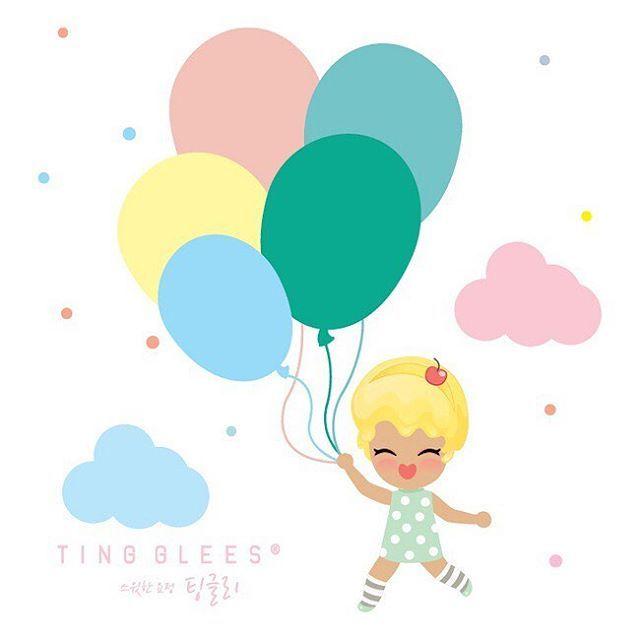 풍선 타고 훨훨 날아가고 싶어라~~ . I wish to fly with a ballon~  . #tingglees #tingglee #ballon #cherry #character #design #팅글리 #체리 #풍선 #캐릭터 #디자인 #일러스트