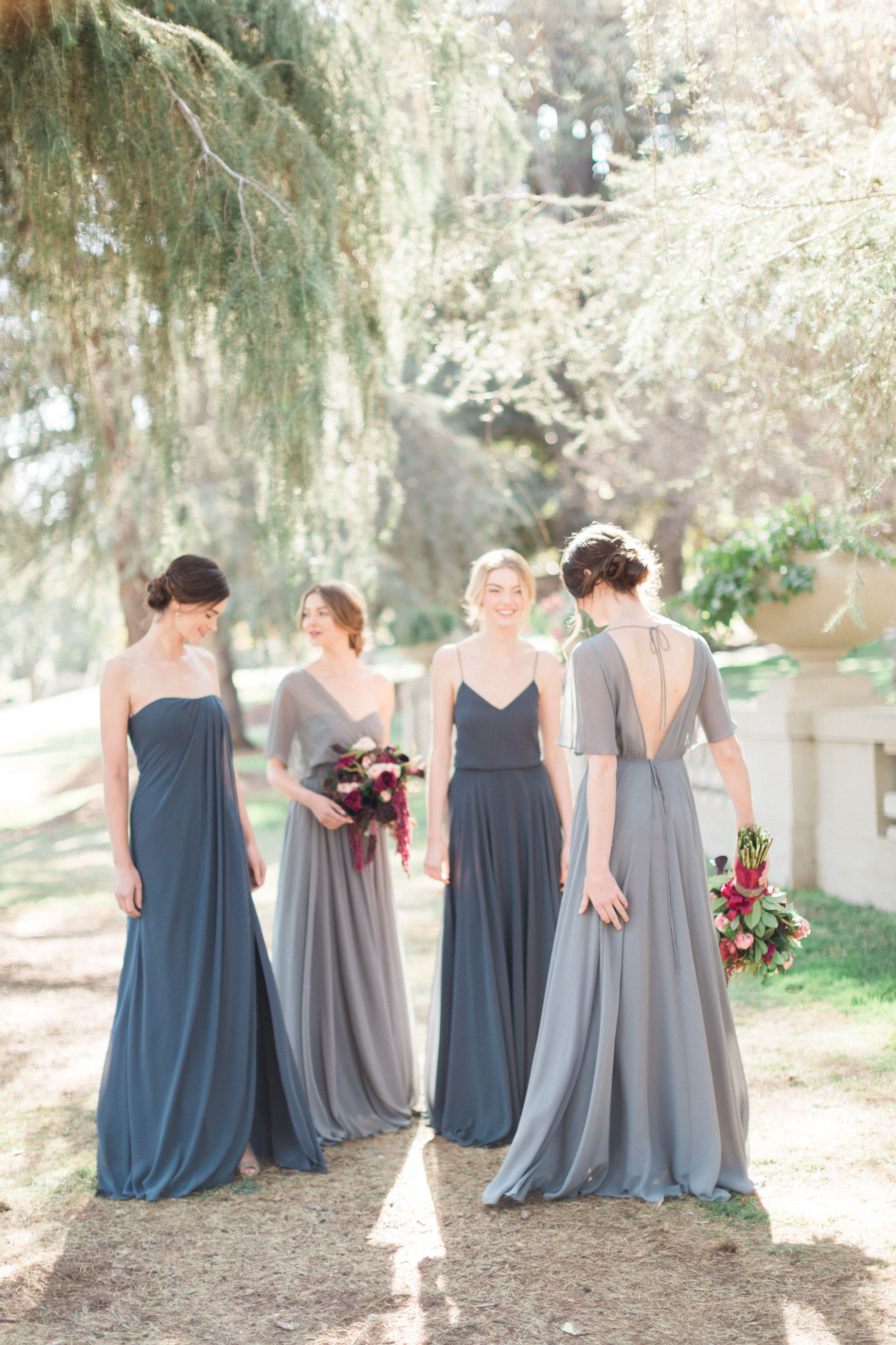 c9348a7cc582a Mix + Match shades of blues with Jenny Yoo // Racquel, Mira, Inesse and  Peyton Bridesmaid Dresses in Denmark Blue + Storm Luxe Chiffon