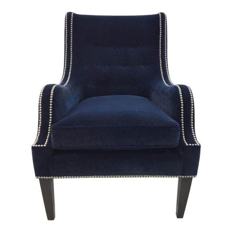 Best Thomasville Blue Velvet Chandon Club Chair Club Chairs 400 x 300