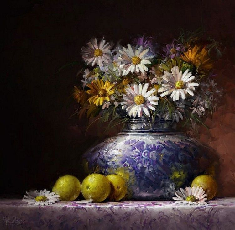 Waheed Nasir —  StillLife With Chrysthanthemums (750x740)
