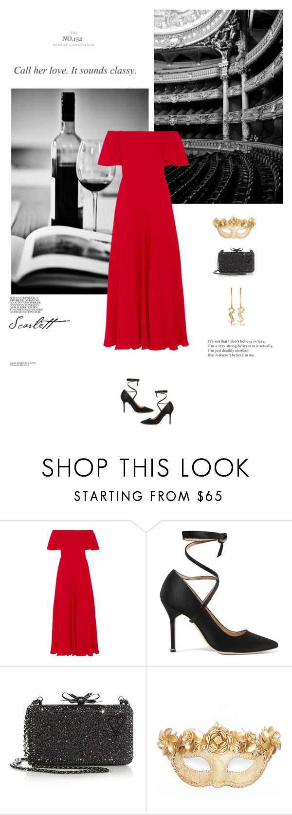 """La Scala"" by olivochka ❤ liked on Polyvore featuring Retour, Valentino, Vetements, Christian Louboutin, Masquerade, Yves Saint Laurent, red, valentino and opera"