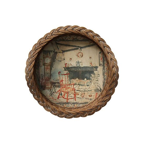 Wicker Tray w/Fireplace Scene #huntersalley