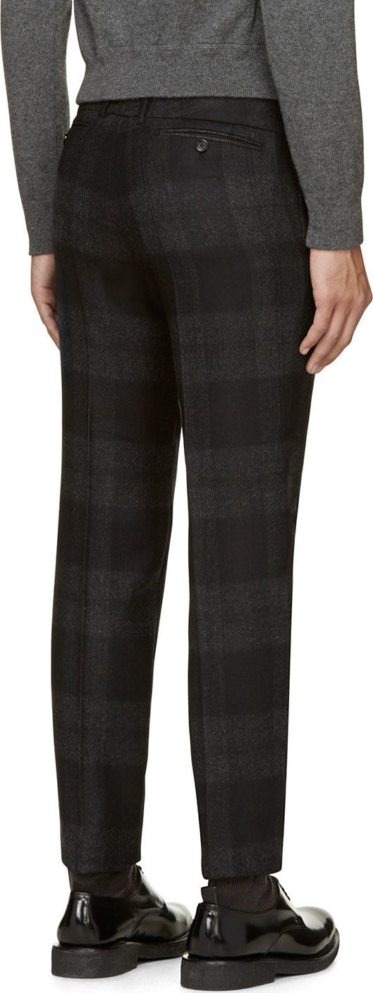 Alexander McQueen Gray Wool Checked Trousers