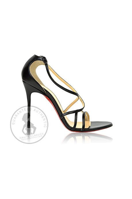"""CHRISTIAN LOUBOUTIN Black Leather """"Gwynitta"""" Strappy Sandals (Size 38.5) - Haute Classics - Authentic Luxury Designer Consignment"""