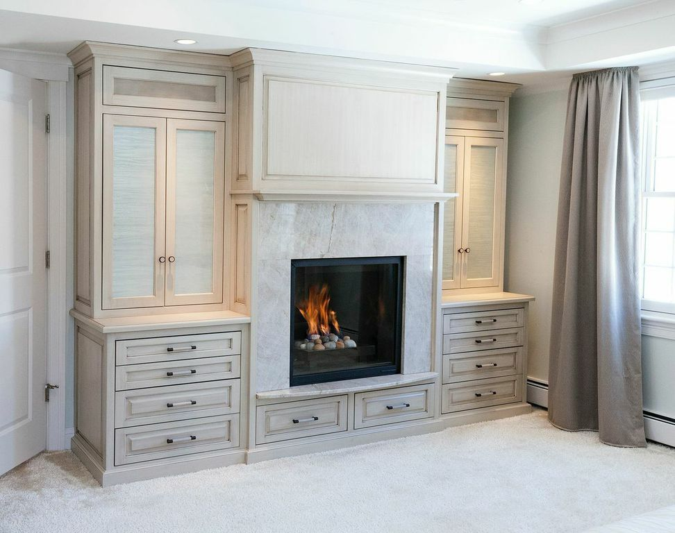 Master Bedroom Fireplace wall, with custom glass panels