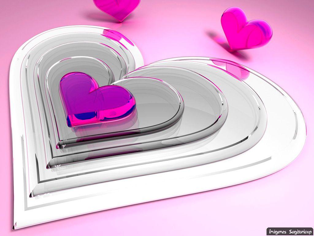 Corazones 3d Plateados Y Rosas Corazones Y Amor Love And Hearts