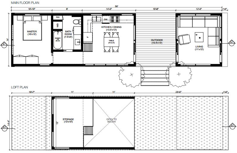 miniHome Cali Series Solo 1 prefab home - floor plan.