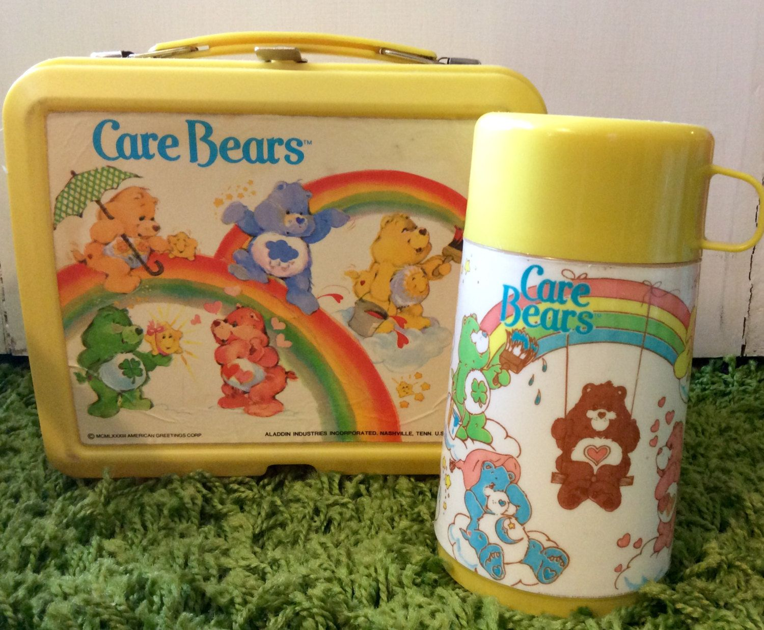 1980s Care Bears Plastic Lunch Box And Thermos By Aladdin