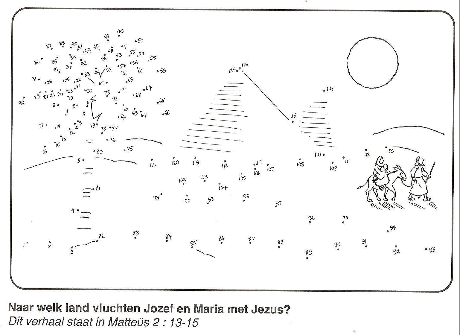 Jozef Vlucht Met Maria En Jezus Naar Egypte Van Stip Naar
