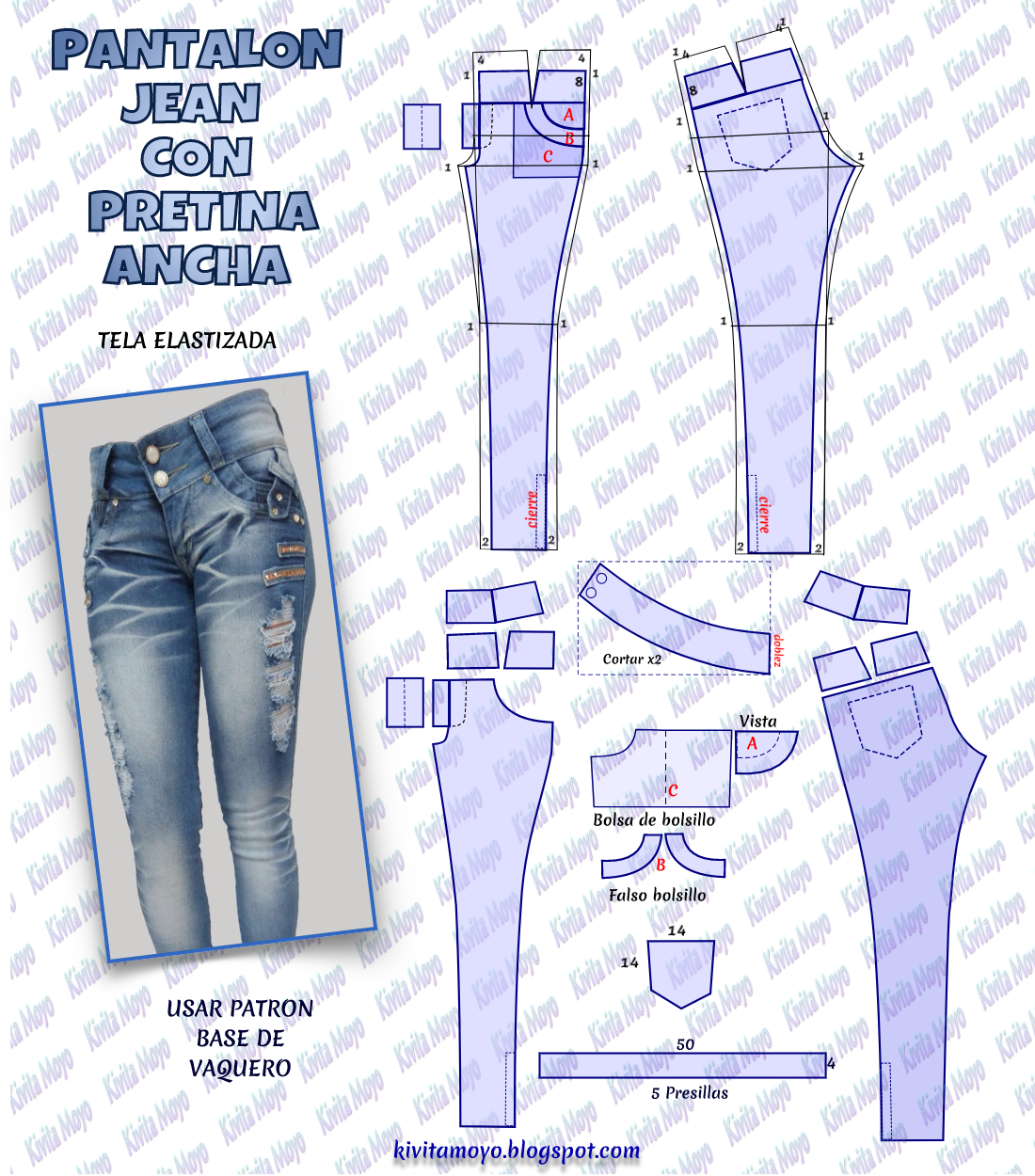Kivita Moyo Pantalon Vaquero Pretina Ancha Dama Patrón De Pantalones Moldes De Pantalones Pantalones Levanta Cola