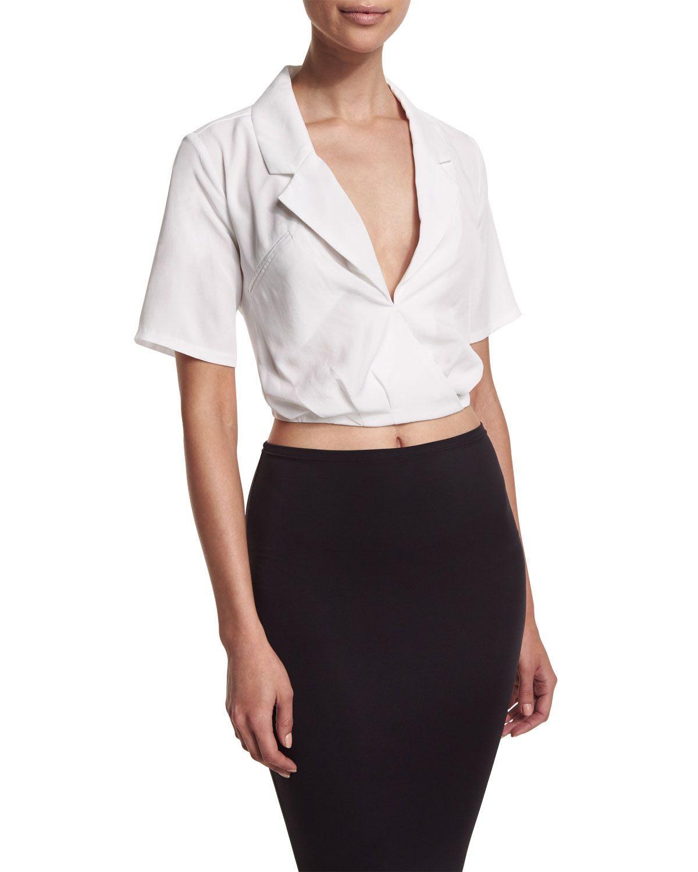 Cropped Tie-Back Wrap Blouse, White | Wrap blouse, Women's and Wraps