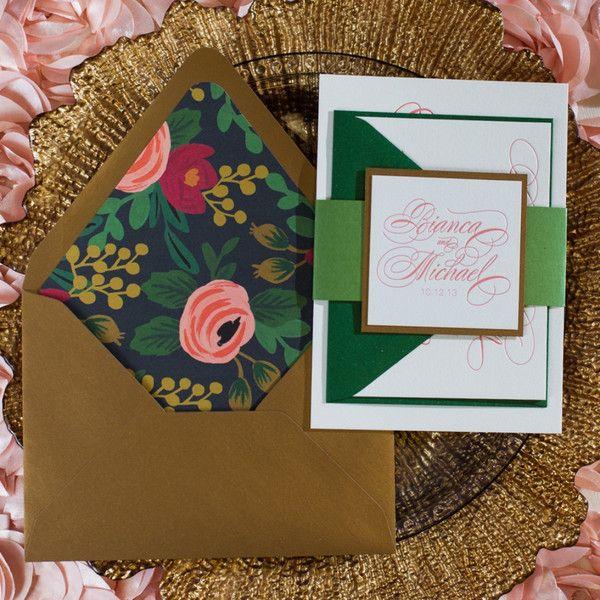 Matchy Matchy Letterpress Invite And Handmade Envelope: Floral Envelope Liner.