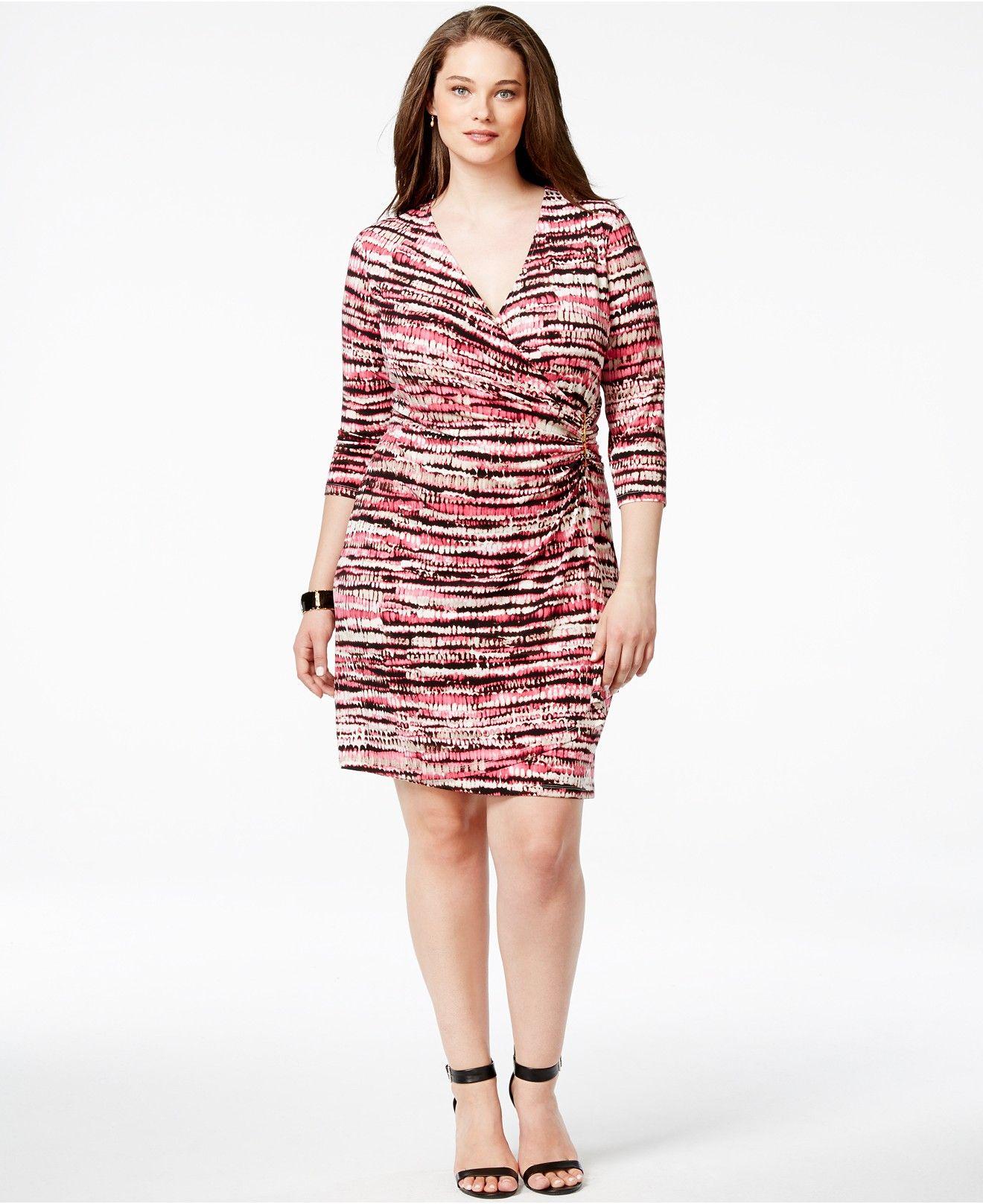 Calvin Klein Plus Size Printed Faux-Wrap Dress - Dresses - Plus ...