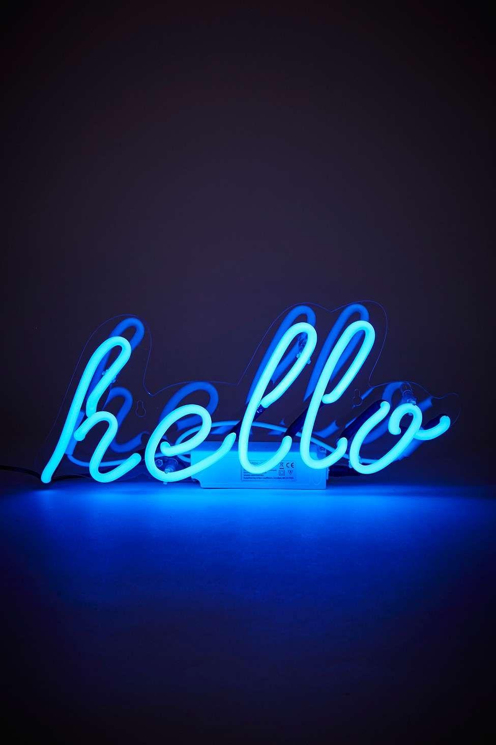 Leuchtender Neon Schriftzug Hello