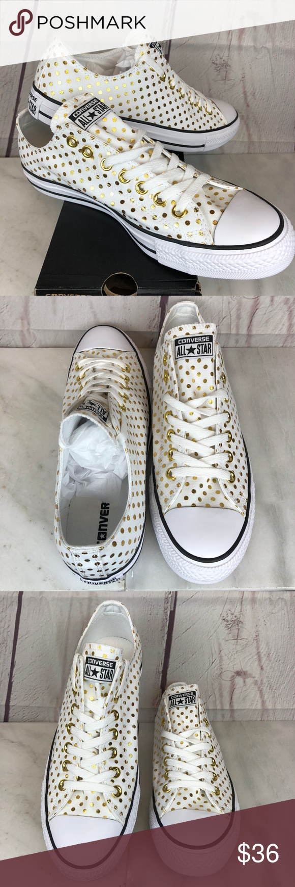 68881a445edea5 Converse OX White   Gold Polka Dot Canvas Sneakers Brand New in the Box  Size Women s