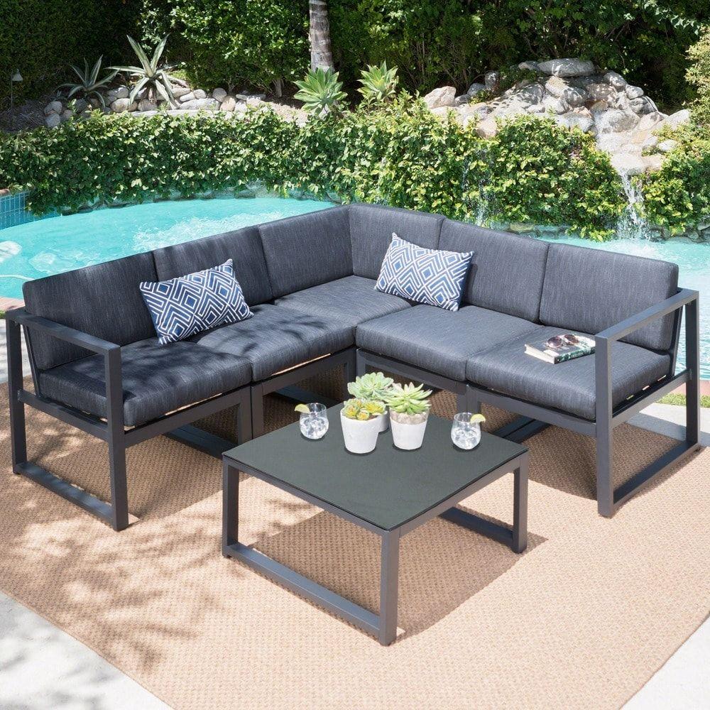 Navan Outdoor Aluminum V Shaped 5 Seater Sectional Sofa