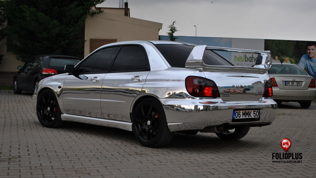 Subaru mpreza wrx real chrome silver folioplus strip folioplus premium car wrapping