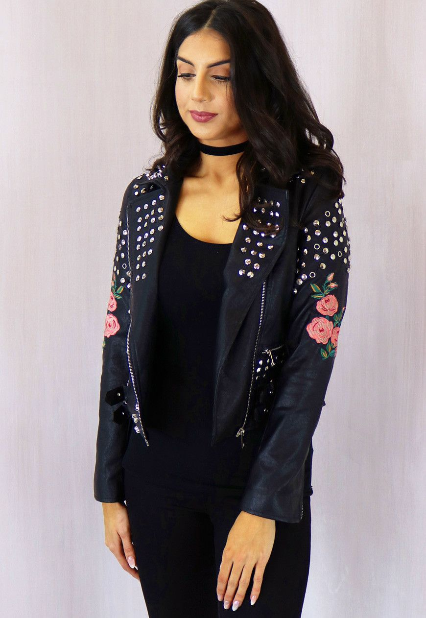 Leather jacket with roses - Studded And Rose Embroidered Leather Jacket In Black With Pink