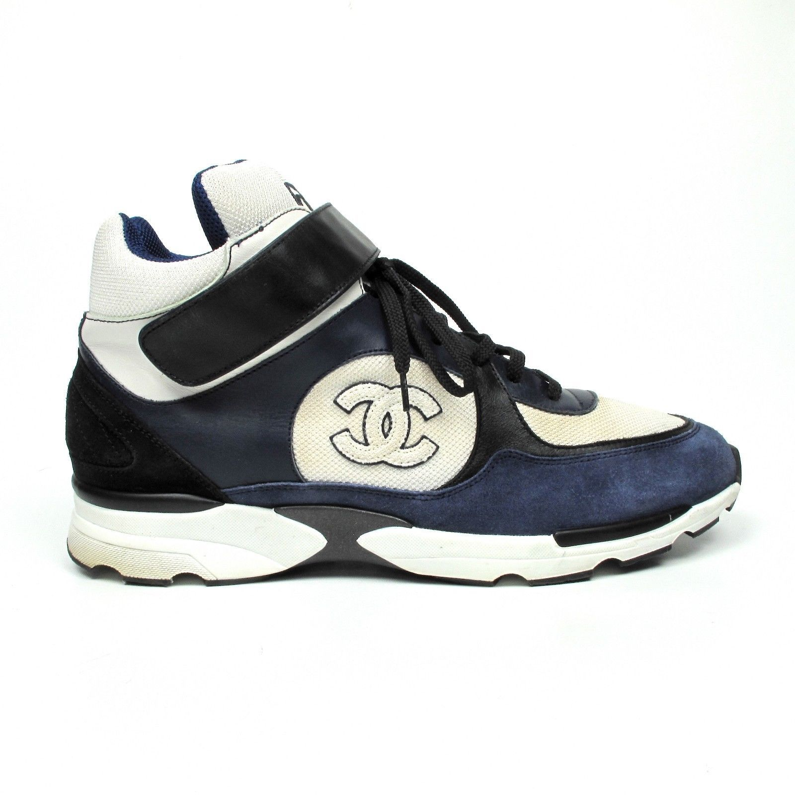 Chanel Mens Sneakers Us 12 45 Trainers Blue White Black High