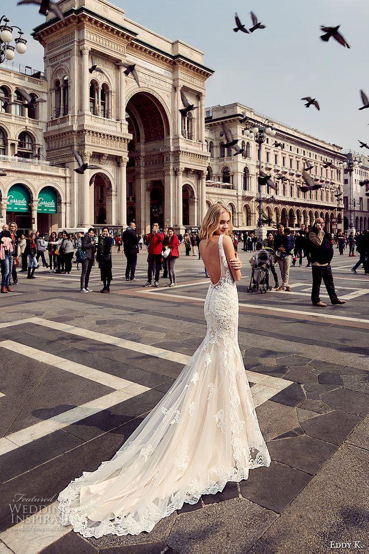 Eddy K Milano Bridal 2017 Sleeveless Thick Strap V Neck Heavily Embellished Bodice Gorgeous Elegant Mermaid Wedding Dress Low Back Chapel Train Md226 Bv