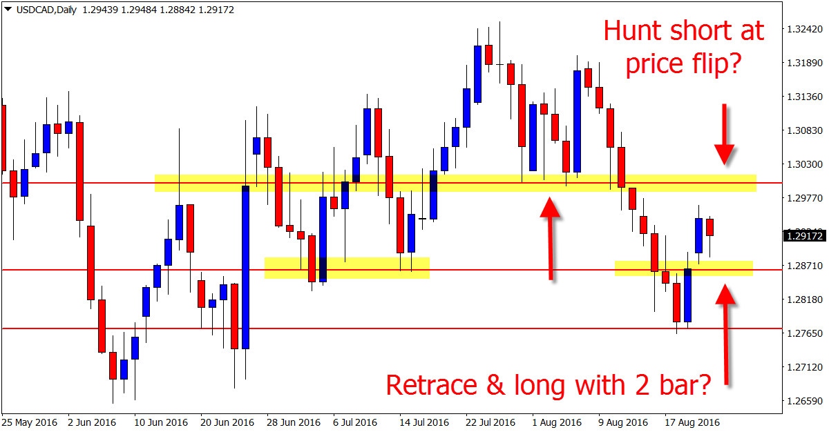 ➜ 2 Bar Reversal Bunts Price Higher & Into Daily Chart Price Flip on USDCAD  See all charts @ http://bit.ly/2c31yZU