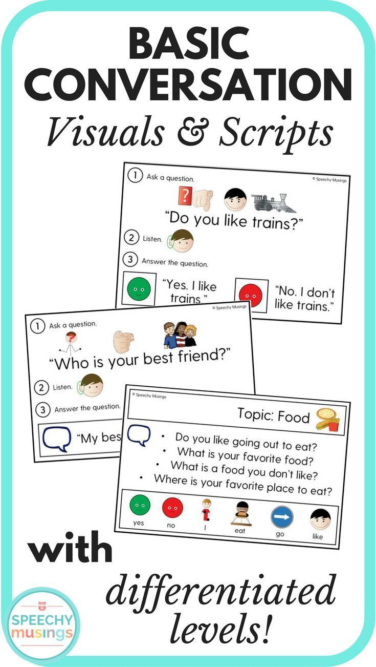 Basic Conversation Visuals And Scripts For Speech Therapy