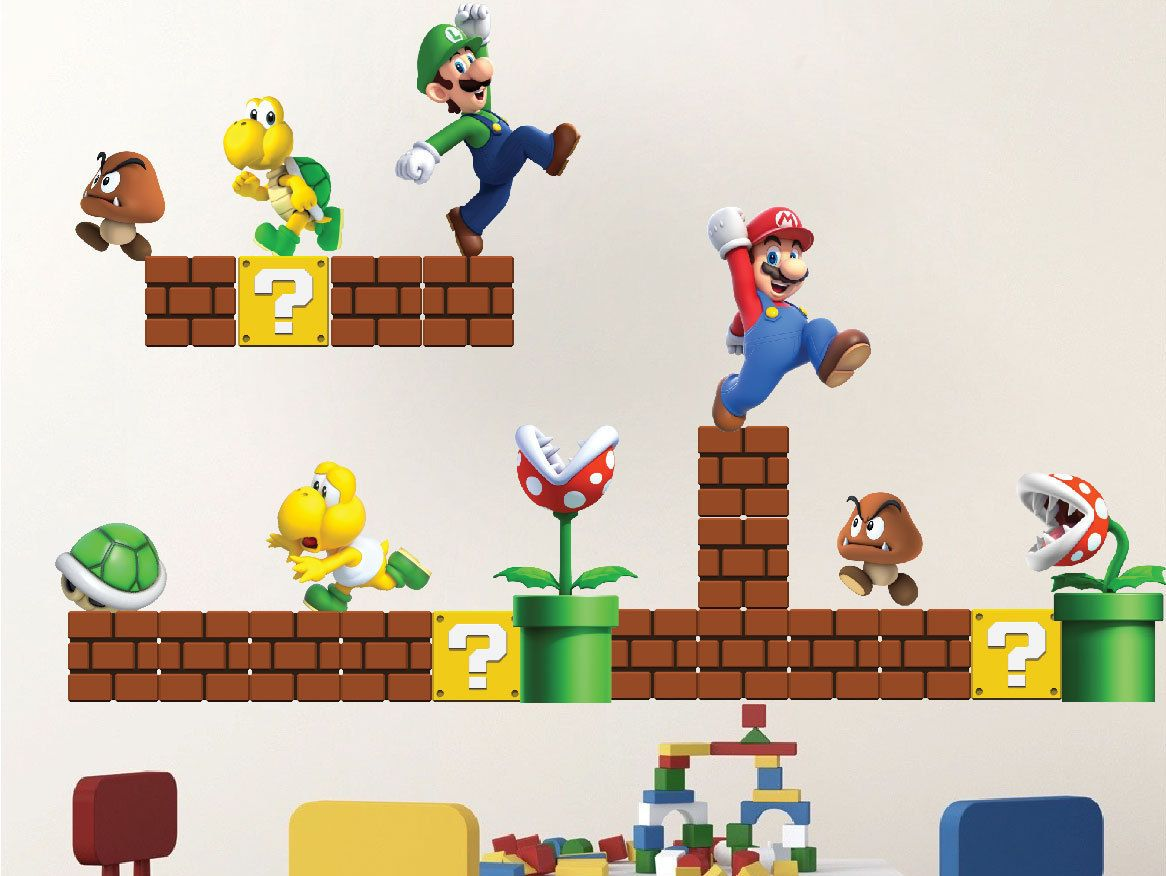 Super Mario Wall Decals SIZES (In Inches) 22 sheet includes (1)  sc 1 st  Pinterest & Super Mario Decals Mario Decals Game Room Vintage Nintendo Decals ...