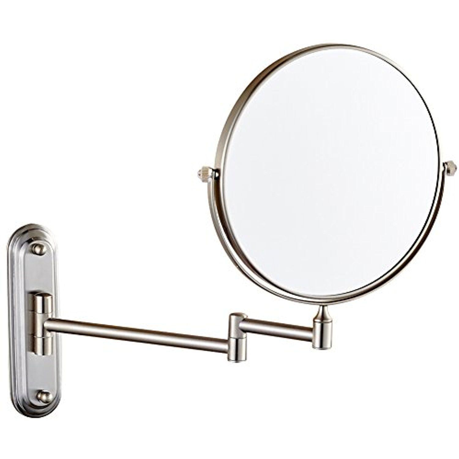 Gurun Wall Mount Makeup Mirror With 10x Magnification Brushed Nickel Finish 8 Inch Two Sided Wall Mounted Makeup Mirror Wall Mounted Mirror Magnifying Mirror