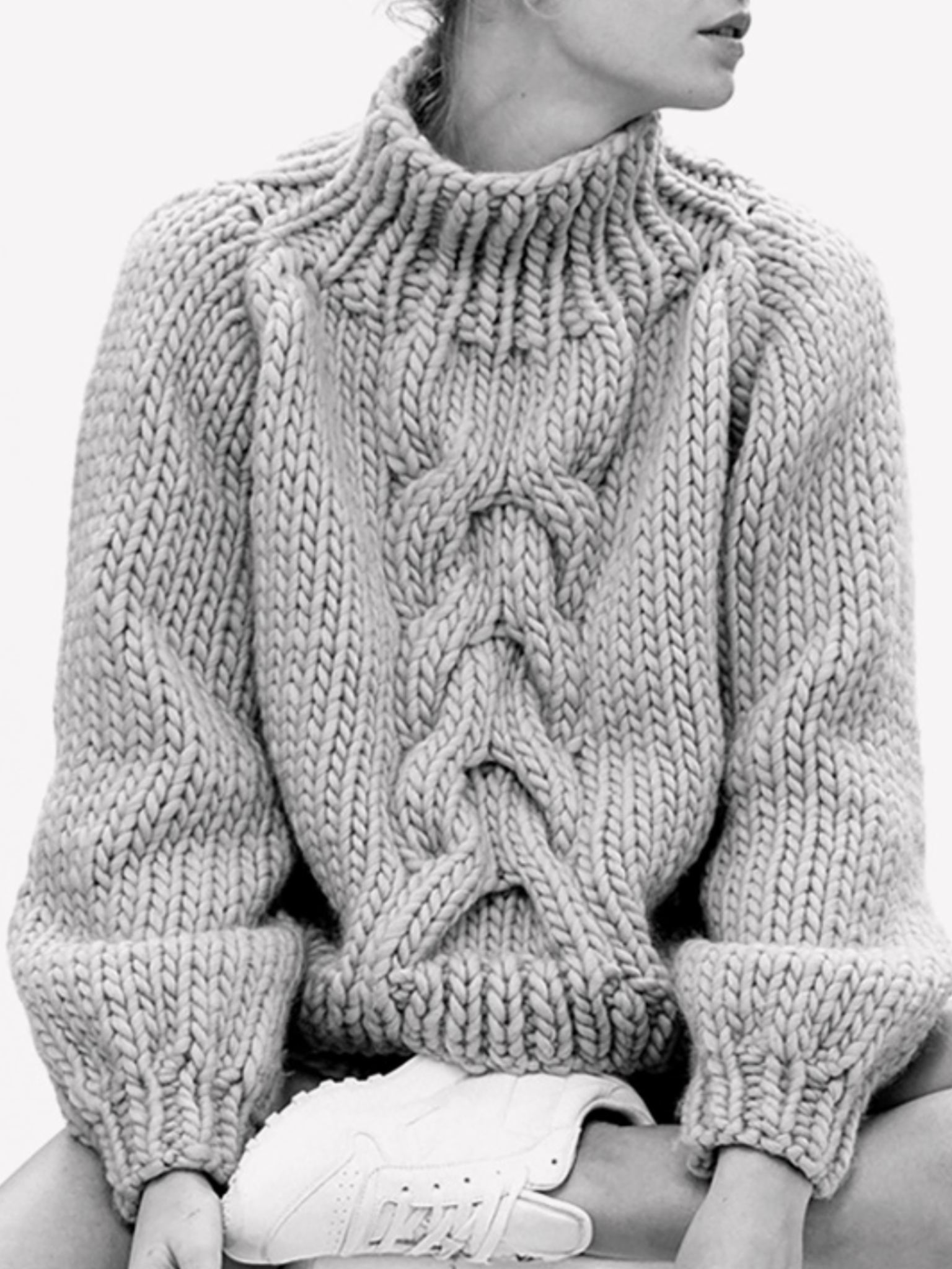 chunky cable knit turtleneck sweater & white sneakers #style ...
