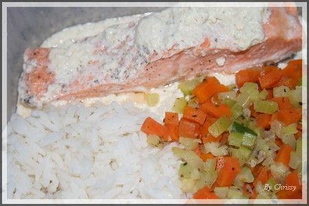Papillote de truite au boursin riz et petit legumes en - Cuisiner tous les jours avec thermomix ...