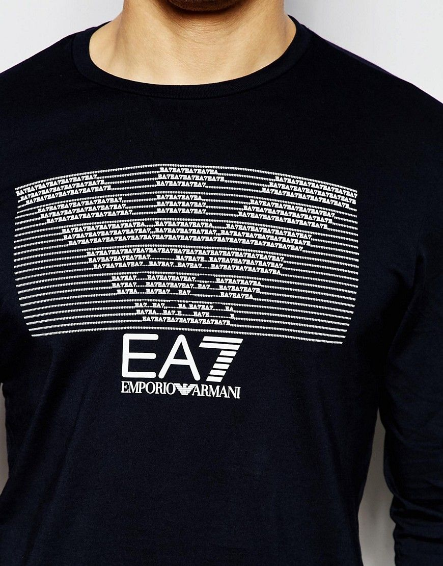 Emporio Armani EA7 T-Shirt with Eagle Text Print Long Sleeves at asos.com