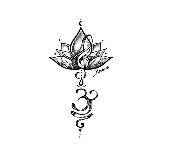 , Lotus with sol key and Breath Symbol tattoo custom design, My Tattoo Blog 2020, My Tattoo Blog 2020