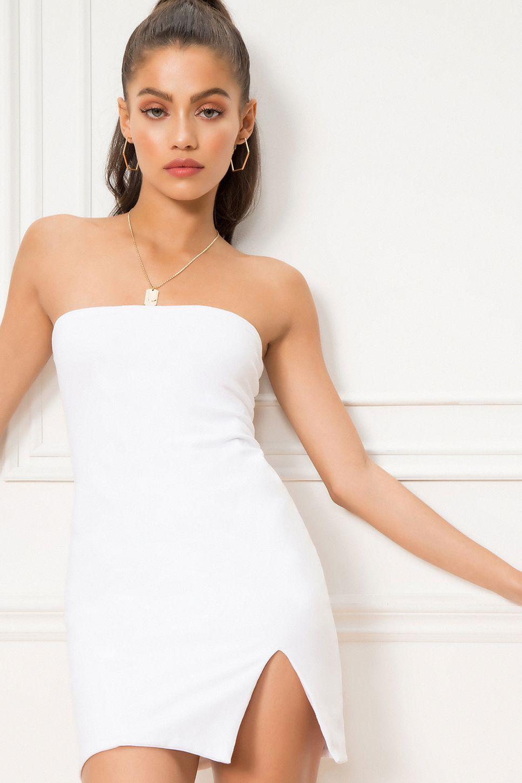 13+ White strapless dress info