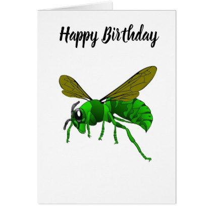 Cartoon green and lime hornet wasp bee card - birthday gifts party  celebration custom gift ideas diy 33f12e2db256